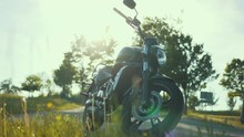 Kawasaki Vulcan S Motorcycle Cruiser At Sunset With Flowers In Front