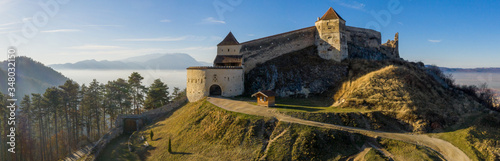 Aerial drone panoramic view of Historical fortress in Risnov or Rasnov Fototapet
