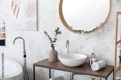 Obraz Interior of bathroom with stylish mirror - fototapety do salonu