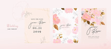Pink Luxury Wedding Invitation, Floral Invite Thank You, Rsvp Modern Card Design In Gold Flower With  Leaf Greenery  Branches Decorative Vector Elegant Rustic Template