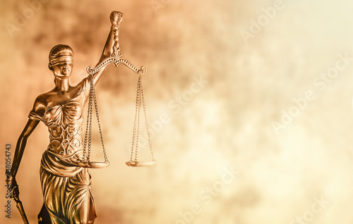 Scales of Justice brown background law concept image. Canvas Print
