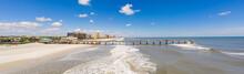 Aerial Panorama Jacksonville Beach Fishing Pier