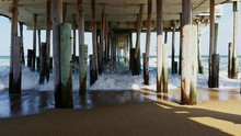 Waves Splashing Below Pier On ...