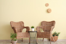 Interior Of Modern Living Room With Wicker Furniture