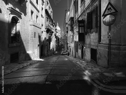 Narrow streets and abrupt descents and climbs of the old city of Valletta Canvas Print