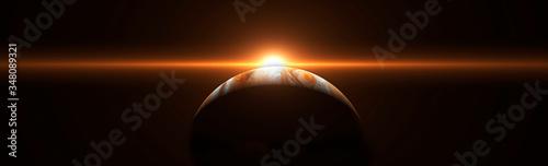 Fotografia Sunrise over Jupiter in space