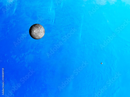 Photo Neptunes atmosphere with moons