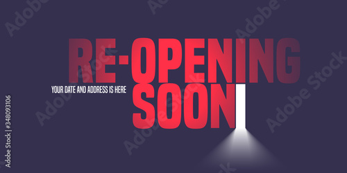Photo Grand opening or reopening vector illustration, background with open door