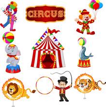 Set Of Circus Cartoon Artists And Animals