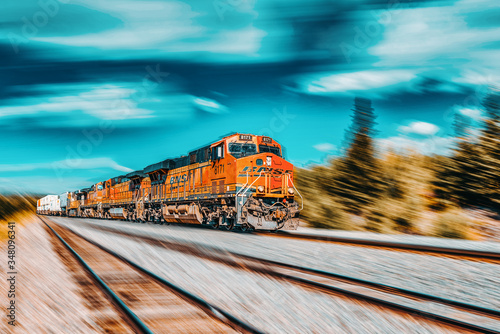 Freight train BNSF Railway Companies on a sunny day in Arizona Canvas Print