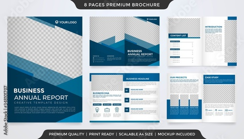 Obraz na plátně set of bifold brochure template design with abstract style and modern concept