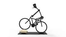3D Rendering Of A Metal Wire Art Piece Of A Bicycle Person Isolated