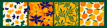 Artistic Seamless Pattern With Abstract Flowers And Oranges.