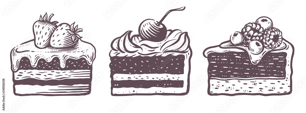 Fototapeta Sweet cakes slices pieces isolated on white background. Set of cakes.