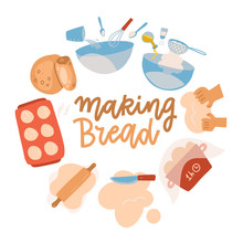 Baking Tools Set. Pastry Making Equipment And Ingredients. Bread Recipe With Wheat Flour, Rolling Pin, Whisk And Sieve. Delicious Baking. Cartoon Flat Vector Illustration With Lettering. Round Concept
