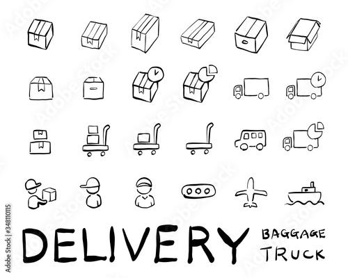 ダンボール箱,トラック,配達員等の配達関連アイコンセット Canvas Print