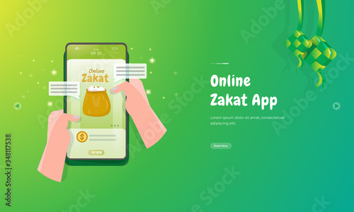 Pay zakat or give alms in Islamic culture through the online zakat mobile applic Wallpaper Mural