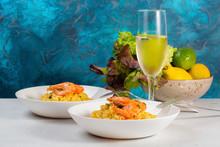 Italian Dinner. Prawn Risotto ...