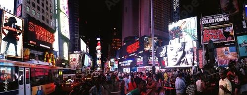 Crowd At Illuminated City Street At Night - fototapety na wymiar