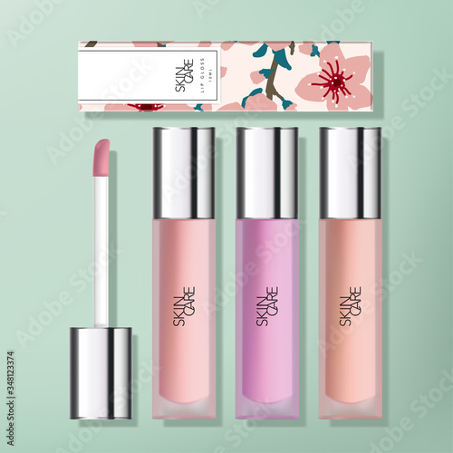 Photo Vector Transparent Frosted Plastic  Lip Gloss Packaging with Gloss Silver Plated Applicator Cap