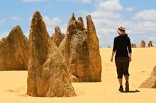 Australian Woman Hiking At Pinnacles Desert In Western Australia