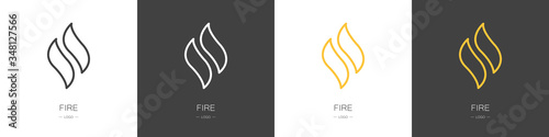 Photo Set of fire logos. Collection. Modern style. Vector illustration