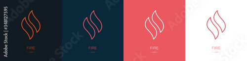 Set of fire logos. Collection. Modern style. Vector illustration Tableau sur Toile