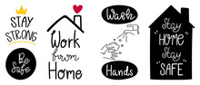 Coronavirus (COVID-19) Prevention Hand Letterings Doodle Banner And Sticker Design Banner, Social Distancing, Stay Home, Quarantine Activities, Thank You Doctor, Keep Healthy Vector Illustration.