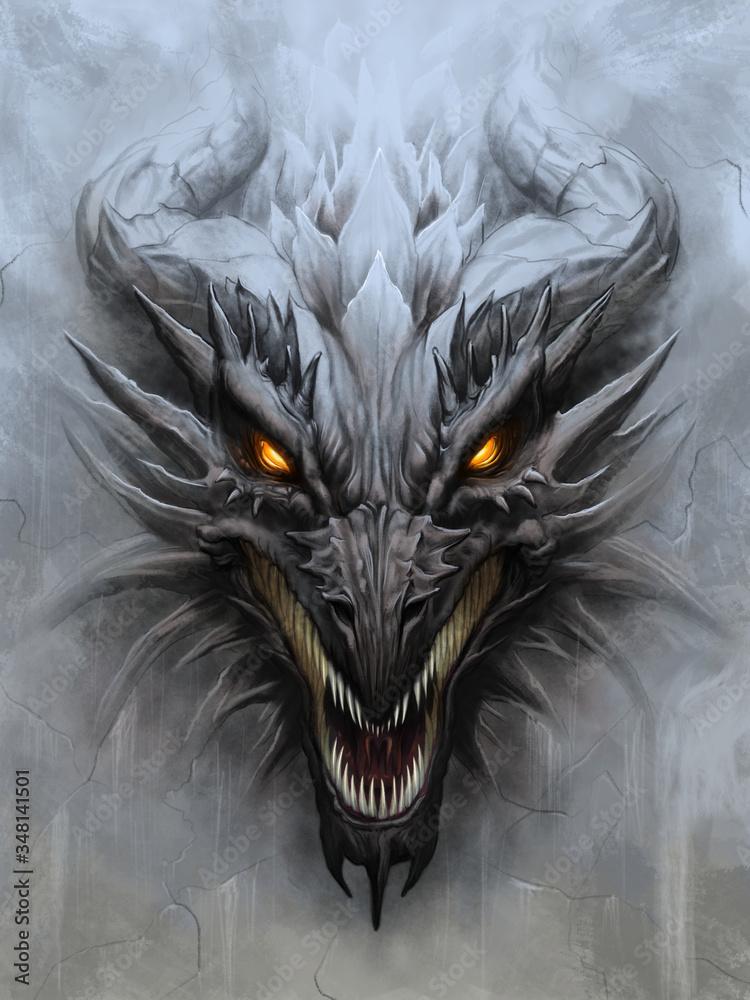 Fototapeta Dragon head on stone background