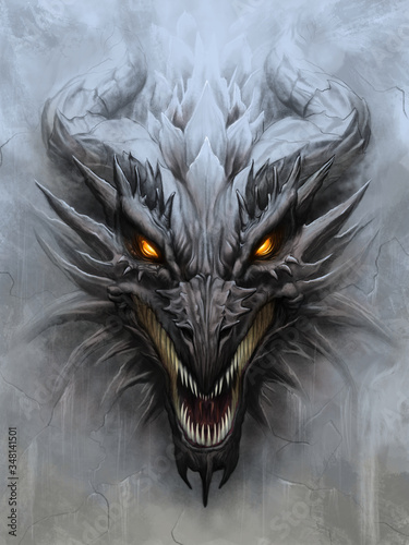 Dragon head on stone background