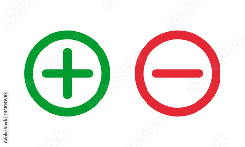 Cuadros en Lienzo green plus and red minus symbols, round thin line vector signs