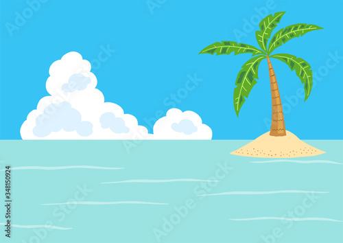 Fotografering 青空と海 南の島とヤシの木