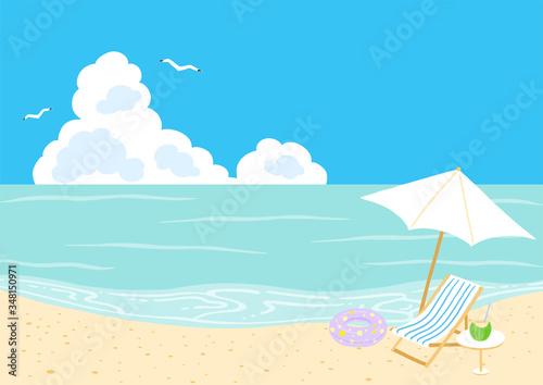 Tablou Canvas 青空と海 ビーチにパラソルとビーチチェア