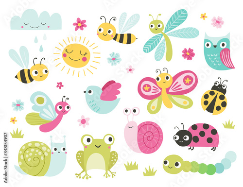 Cute bugs and animals character set. Funny cartoon insects, butterfly, bee, frog, owl, snail, ladybug. Garden, pond, meadow creatures. Spring and summer vector illustration for kids.