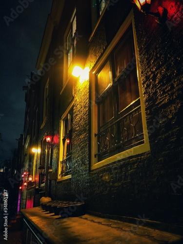 Photo street in the night amsterdam