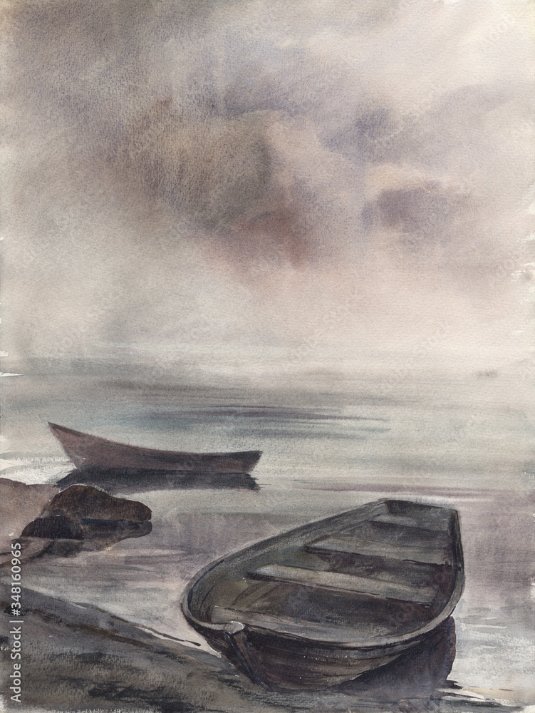 Watercolor: Old boats