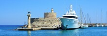 Mandraki Harbor Of Rhodes With...