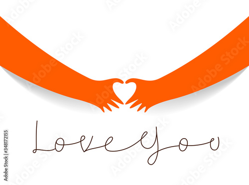 Hands showing heart sign vector illustration, love theme banner or greeting card on Valentine Day 14 February Canvas Print