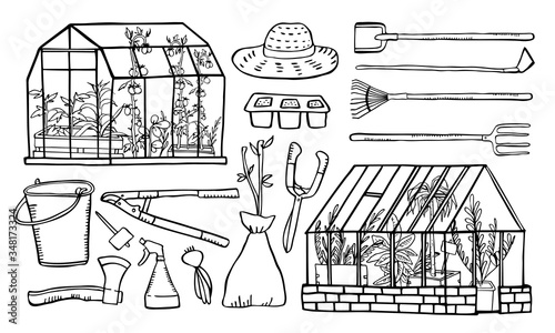 Fotografía Set with two greenhouses and plants inside, gardening tools and seedings