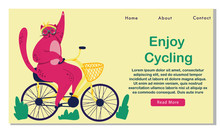 Pink Fat Cat Rides On Bicycle. Food Basket. Outdoor Sport S Trip. Fitness Lifestyle Theme. Design Elements For Landing, Banner. Summer Vacation. Enjoy Cycling