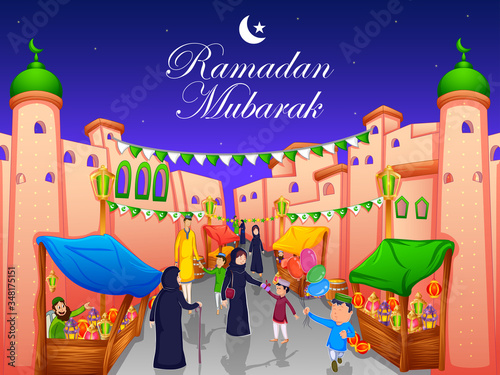 Carta da parati Happy muslim family celebrating Eid holiday on Ramadan in vector
