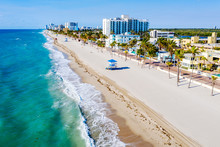 Aerial View Of Hollywood Beach.Empty Beach.during COVID-19 .Lockdown, All Florida Beaches Are Closed To Slow Spread Of The Corona Virus.Hollywood Beach Broadwalk..Hollywood, Broward,Florida,USA..