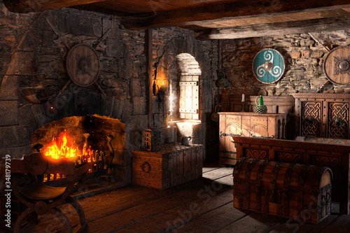 Photo 3D Rendering Medieval Bedroom
