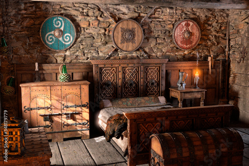 Fotografia 3D Rendering Medieval Bedroom