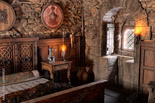 Obraz na plátně 3D Rendering Medieval Bedroom