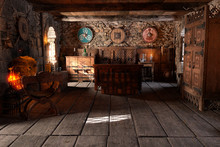 3D Rendering Medieval Bedroom