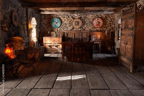 Obraz 3D Rendering Medieval Bedroom - fototapety do salonu