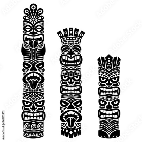 Hawaiian and Polynesia Tiki pole totem vector design - tribal folk art backgroun Tableau sur Toile