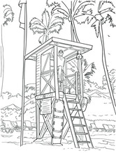 Hand Drawn Vector Coloring Book For Children And Adults - Lifeguard On The Beach. Lifeguard Tower At A Beach Resort. Line Art Illustration. Meditation