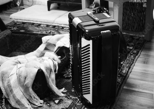 Close-up Of Accordion On Carpet At Home Canvas Print